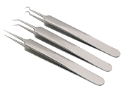 Silver Russian Volume Tweezers: 3 Pce Set