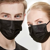 50 Disposable 3 Ply Filtration Black Face Mouth Mask